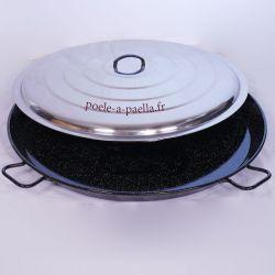 Poêle à paella géante 90cm Vaello Campos émaillée + couvercle - 50 parts