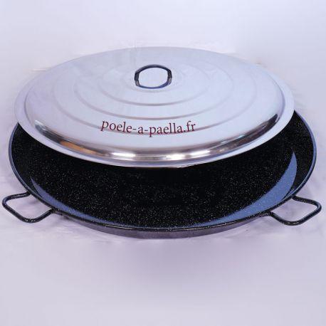 Poêle à paella géante Vaello Campos émaillée + couvercle - Diamètre 90cm