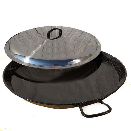 Poêle à paella géante 65cm Vaello Campos émaillée + couvercle - 25 parts
