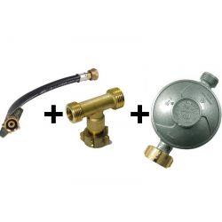 kit de couplage 2 bouteilles de gaz, lyre + T + détendeur propane