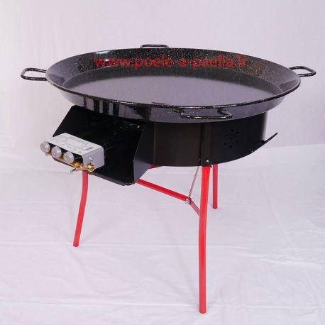 Kit à paella thermocouple pour 85 personnes avec plat émaillé + pare-flamme