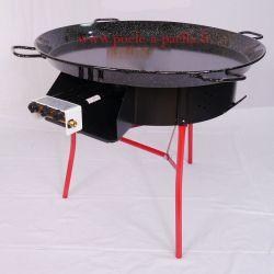 Kit à paella pour 85 personnes avec plat émaillé + pare-flamme