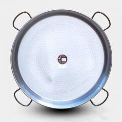 Plat à paella géante Vaello Campos en acier poli - Diamètre 100cm / 85 parts