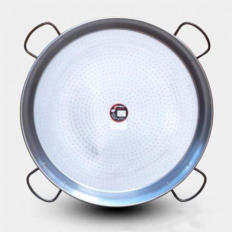 Plat à paella géante Vaello Campos en acier poli - Diamètre 80cm / 40 parts