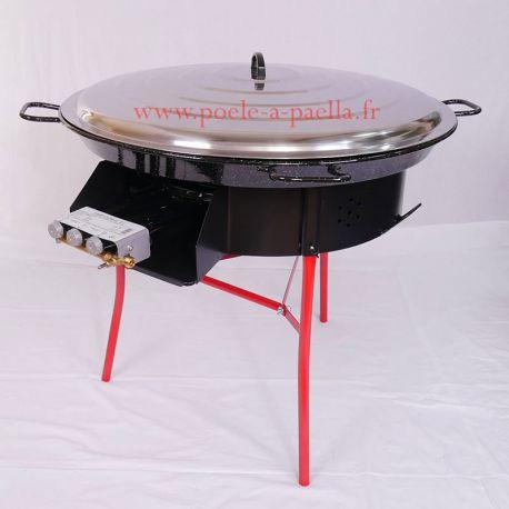 Kit à paella thermocouple pour 50 personnes avec plat émaillé + pare-flamme